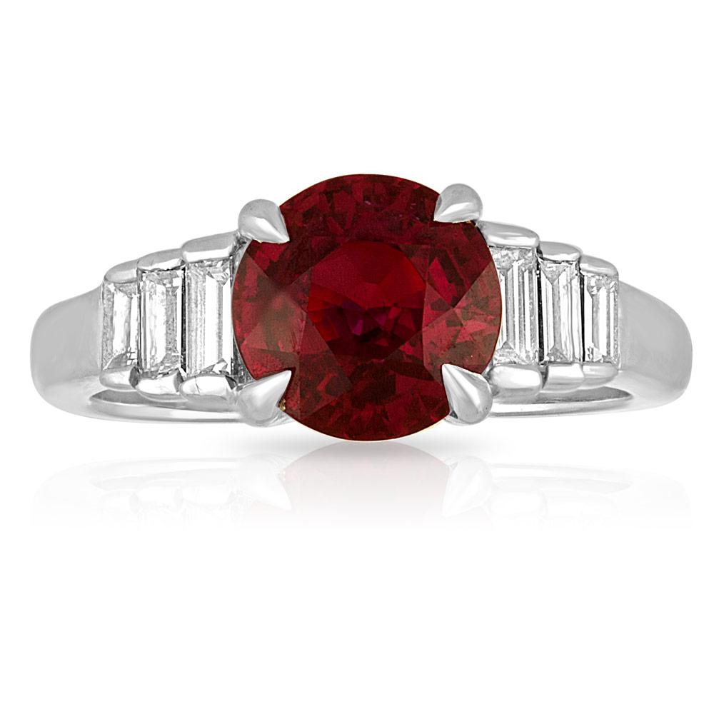 Platinum, Ruby and Step Cut Diamond Ring