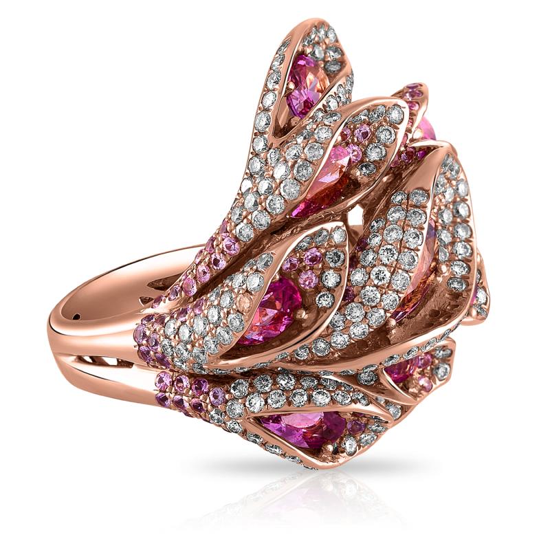 18k Rose Gold Pink Sapphire And Diamond Flower Ring Shah Shah
