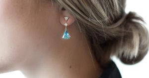 Shah & Shah Aquamarine and diamond earrings