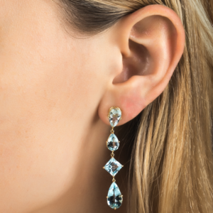 Shah & Shah Aquamarine Asymmetrical Earrings